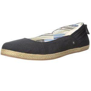 UGG Black/Tan Perrie Ballet Flat Bow Detail  6.5
